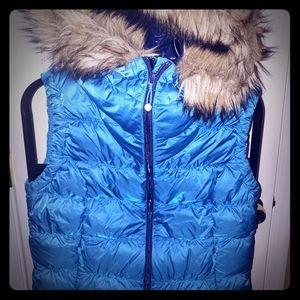 Eddie Bauer hooded puffer vest